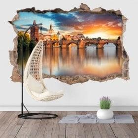 Vinilos de pared 3D Praga Puente Carlos