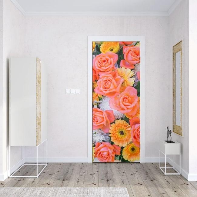 vinilos y pegatinas para puertas rosas y flores