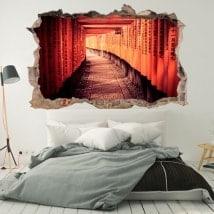 Vinilos de pared túnel en Kioto Japón 3D