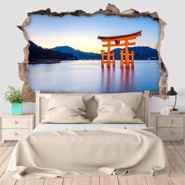 Vinilos de pared puerta Torii 3D