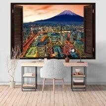 Ventanas vinilos 3D Yokohama y monte Fuji