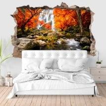 Vinilos paredes 3D cascadas en otoño