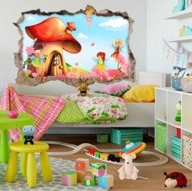 Vinilos infantiles 3D mundo de hadas mágico