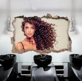 Vinilos paredes peluquería con estilo 3D