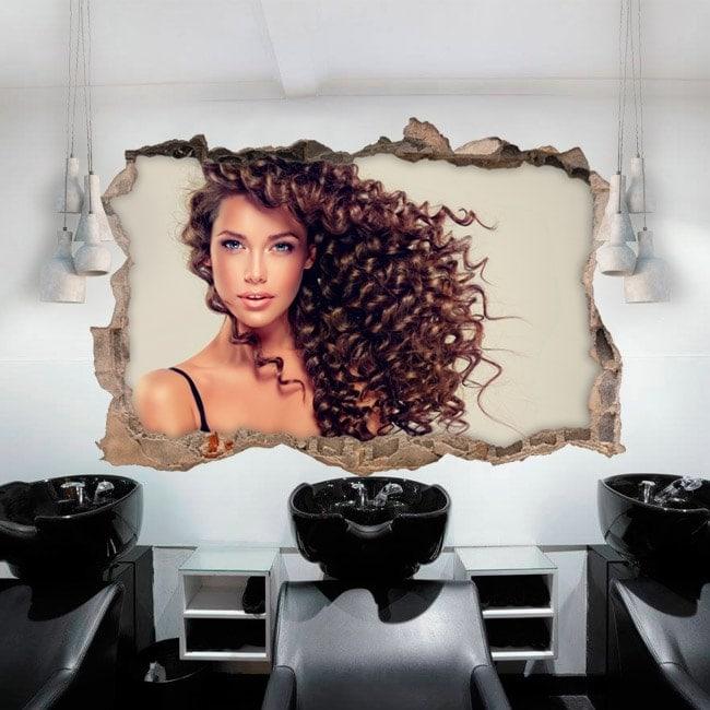 Vinilos paredes peluquer a con estilo 3d - Peluquerias con estilo ...