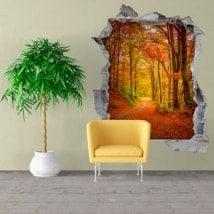 Vinilos pared 3D carretera en otoño