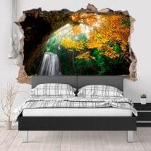 Vinilos paredes cascada en el bosque 3D