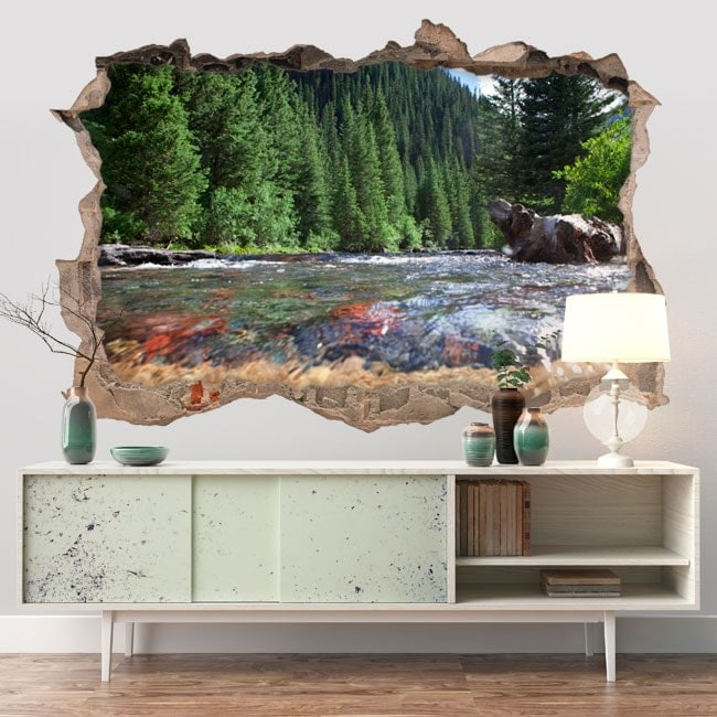 Vinilos paredes río montañas Colorado 3D