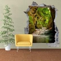 Vinilos pared 3D Finnich Glen Escocia Cascadas