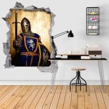 Vinilos pared guerrero medieval 3D