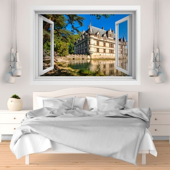Ventana vinilos 3D castillo de Azay-le-rideau Francia