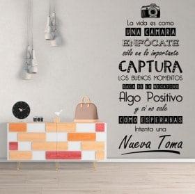 Vinilos decorativos frases la vida es como una cámara