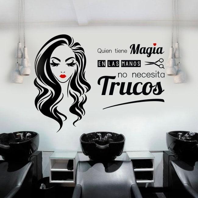 Vinilos salones de belleza y peluquer as quien tiene magia - Vinilos de salon ...