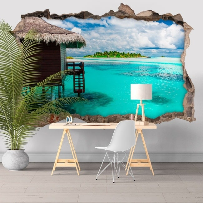 Vinilos paredes isla laguna azul 3D