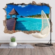 Vinilos decorativos 3D isla laguna azul