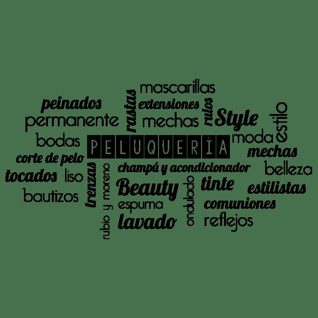 Vinilos textos y palabras peluquer as for Disenos de espejos para peluqueria