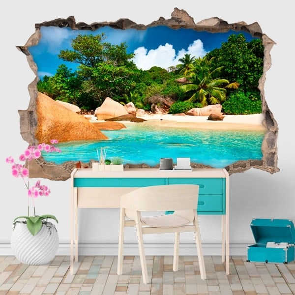 Vinilos decorativos isla tropical 3d for Vinilos decorativos 3d