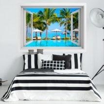 Ventana vinilos 3D playas de isla Mauricio