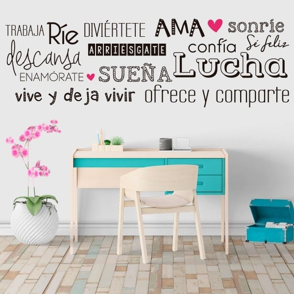 Vinilos decorativos frases vivir feliz for Pegatinas frases pared