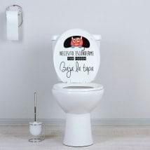 Vinilos baños monstruo baja la tapa WC
