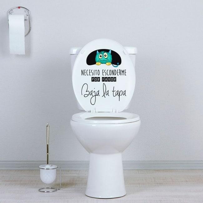 Vinilos baños monstruo escondido WC