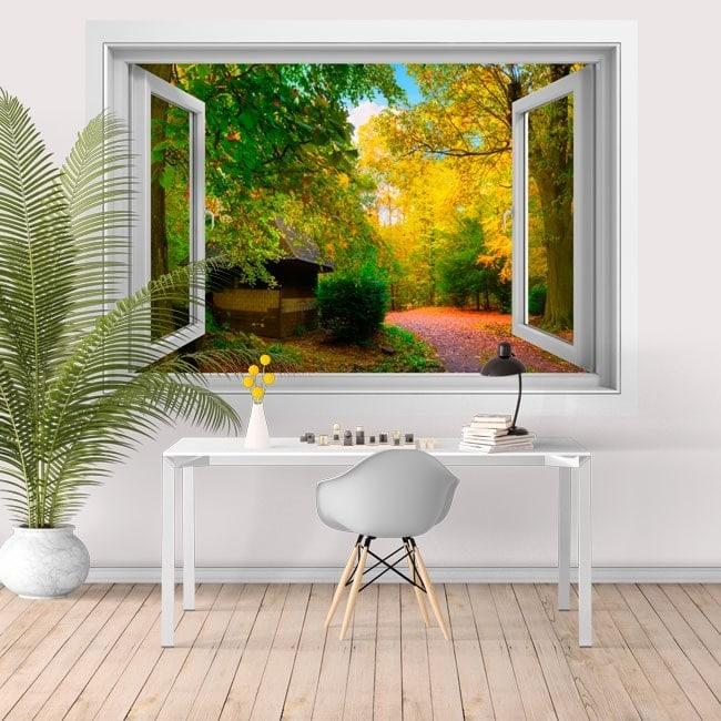 Vinilos para paredes ventana casa de campo 3D