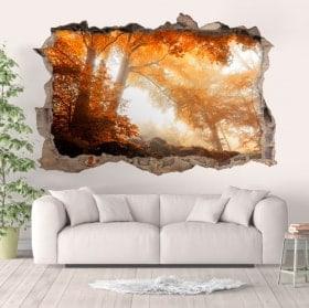 Vinilos paredes bosque en otoño 3D