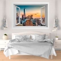 Vinilos paredes atardecer en Manhattan 3D
