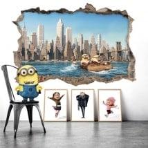 Vinilos decorativos minions en Nueva York 3D