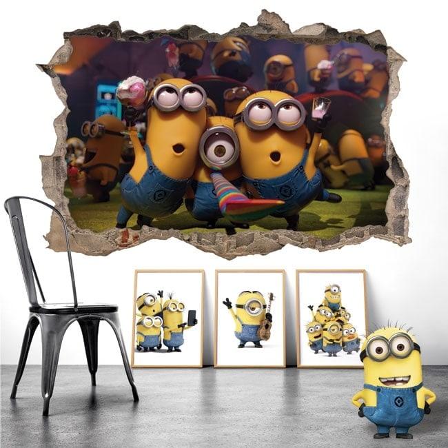 Vinilos decorativos paredes fiesta de minions 3D