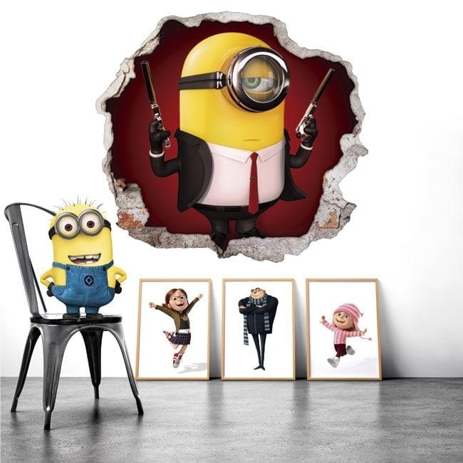 Vinilos decorativos paredes minion hitman 3D