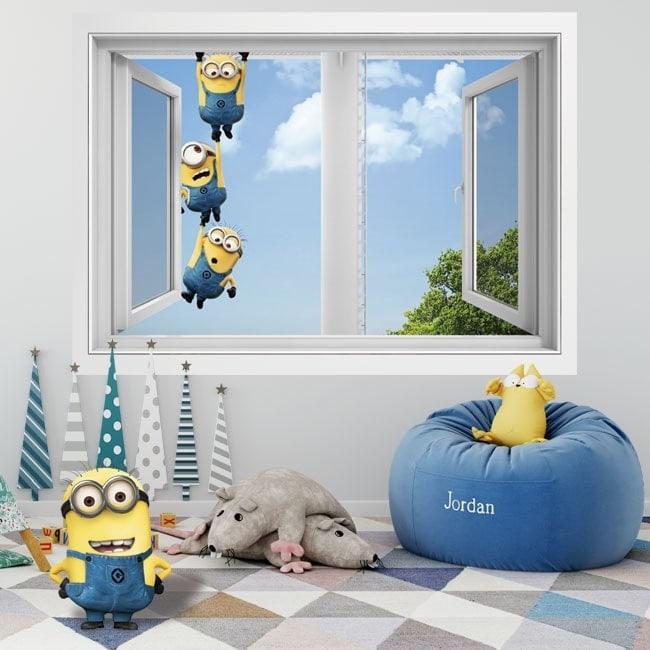 Vinilos paredes ventana minions 3D