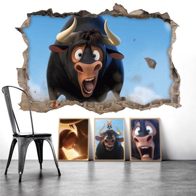 Vinilos para paredes Ferdinando el toro 3D