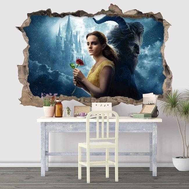 Vinilos decorativos la bella y la bestia 3D