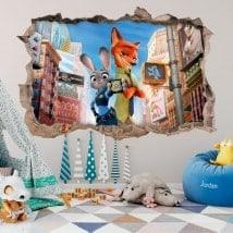 Vinilos infantiles de pared zootrópolis 3D