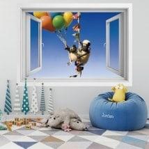Vinilos paredes ventana la oveja Shaun 3D