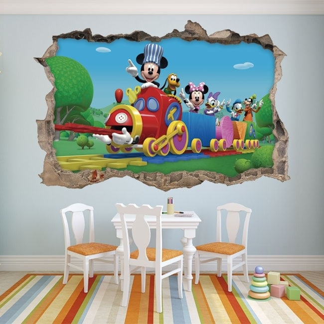 109x150 Habitaci/ón Infantil Vinilo Decorativo Infantil de Pared Disney Mickey y Sus Amigos Autoadhesivo de f/ácil colocaci/ón