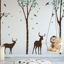 Vinilos decorativos ciervos en el bosque
