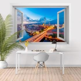 Vinilos ventana río Spree Torre Fernsehturm Berlín 3D