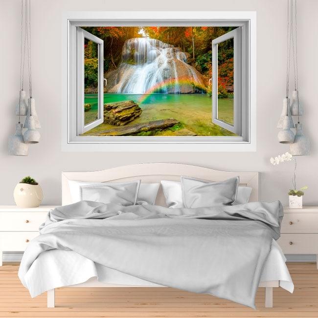 Vinilos decorativos arcoíris en la cascada 3D