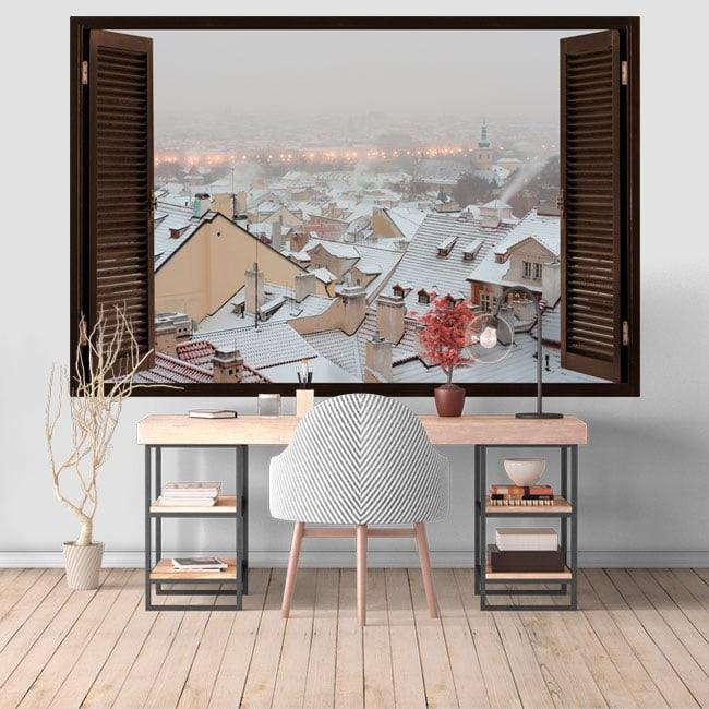 Vinilos paredes Invierno en Praga 3D
