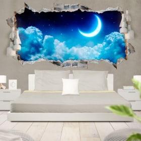 Vinilos luna y estrellas 3D