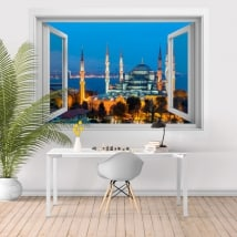 Vinilos mezquita azul o del Sultán Ahmed Estambul 3D