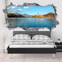 Vinilos decorativos lago Bled Eslovenia 3D