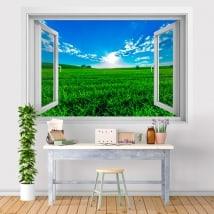 Vinilos paredes puesta de sol en el campo 3D