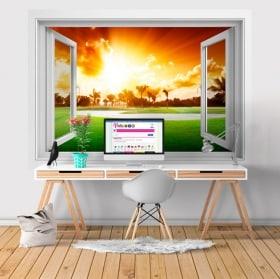 Vinilos ventana atardecer 3D