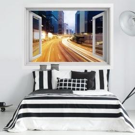 Vinilos de pared ciudad de noche 3D