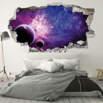 Vinilos paredes planetas y galaxia 3D