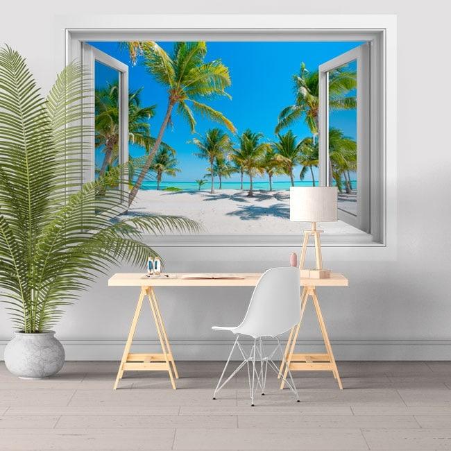 Vinilos adhesivos ventanas palmeras en la playa 3D