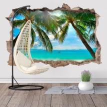 Vinilos palmeras en la playa 3D